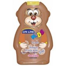 ОНЛАЙН КИДС Детски шампоан и душ гел 2 в 1 Шоколад 250 мл. ONLINE KIDS shampoo end body wash 2 in 1 Chocolate