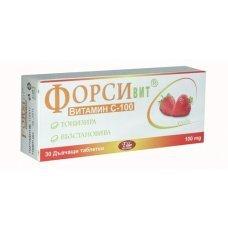 ФОРСИВИТ витамин С 100мг. за дъвчене с вкус на ягода 30 таблетки, FORSIVIT