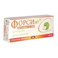 ФОРСИВИТ витамин С 100мг. за дъвчене с вкус на ябълка 30 таблетки, FORSIVIT