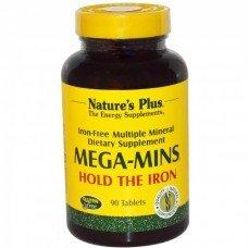 Нейчърс Плюс - Мега Минс, Мулти-Минерален Комплекс без Желязо, 90 таблетки, Nature's Plus -  Mega-Mins 90 Tabs