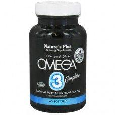 Нейчърс Плюс -Омега 3, Есенциални Мастни Киселини от Рибено масло EPA и DHA, 60 дражета, Nature's Plus -   Omega 3 Complete 60 Softgels