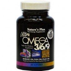 Нейчърс Плюс -Ултра Омега 3 6 9 - 1200 мг, Масло от Пореч, Рибено масло и Ленено масло - Есенциални и Неесенциални Мастни Киселини 60 дражета, Nature's Plus -   Ultra Omega 3-6-9 60 Softgels