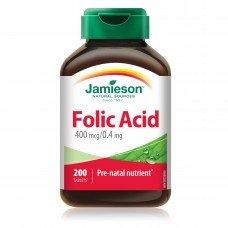 ДЖЕЙМИСЪН - Фолиева киселина 400 mcg 200 таблетки, JAMIESON - Folic Acid 200 Tabs.