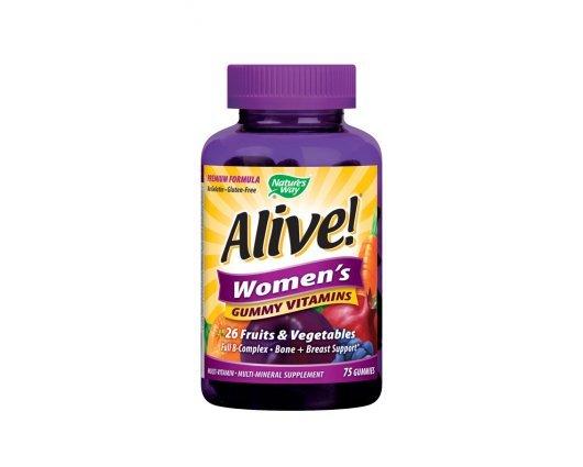 Нейчърс Уей  -  Алайв – желирани мултивитамини за жени 131 mg 75  таблетки , Nature's Way  Alive Woman's Gummy Multivitamins