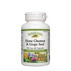 Нейчъръл Факторс  - Див кестен и гроздово семе, 350 mg, 60 капсули, Natural Factors - Horse Chesthut and Grape Seed