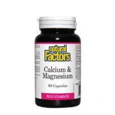 Нейчъръл Факторс  - Калций & магнезий + витамин D3 376 mg  90 капсули, Natural Factors - Calcium, Magnesium and Vitamin D3