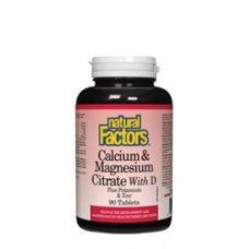 Нейчъръл Факторс  - Калций, магнезий и витамин D + калий и цинк 526 mg  90 капсули, Natural Factors - Calcium, Magnesium, Vitamin D + Zinc