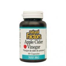 Нейчъръл Факторс  - Ябълков оцет 500 mg 90  капсули  , Natural Factors Apple Cider Vinegar