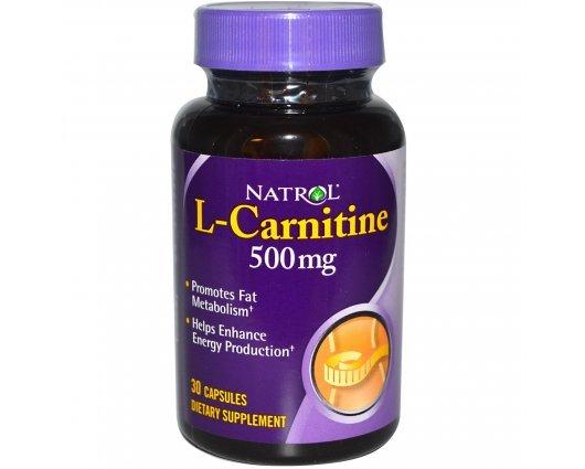 Natrol L-Carnitine 500mg 30 caps, Ускорява изгарянето на мазнини