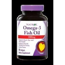 Natrol Omega-3 Fish Oil 1000mg 60 softgels , Намалява риска от сърдечно-съдови заболявания