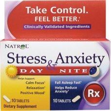 Natrol Stress & Anxiety Day+Nite 10 + 10 tabs,Поддържа спокойствието и фокуса