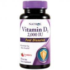 Natrol Vitamin D3 2,000 IU Fast Dissolve 90 tabs,Важен за растежа и укрепването на костната структура