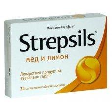 СТРЕПСИЛС МЕД И ЛИМОН 24 таблетки за смучене, STREPSILS LEMON AND HONEY